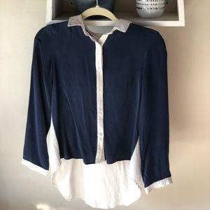 Amour Vert Navy + White Silk Button Up Shirt